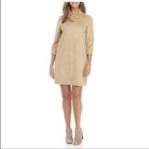 NWT Crown & Ivy Tan A-Line Dress Ruffle Neck